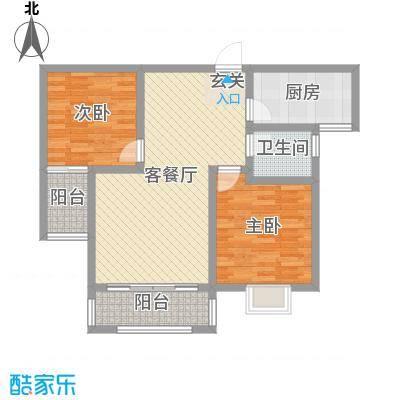 阜丰康桥郡92.00㎡高层E1户型2室2厅1卫1厨