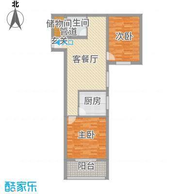 滏兴国际园二期87.00㎡7#楼B户型2室2厅1卫1厨