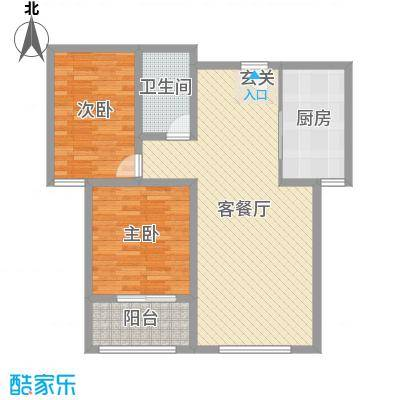 泉府公馆96.00㎡3-4#楼4单元C户型2室2厅1卫1厨