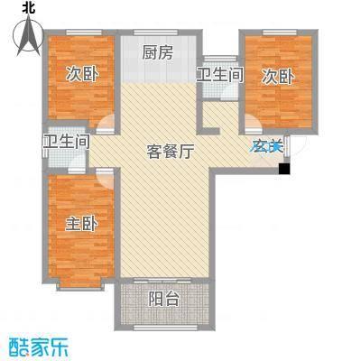 泉府公馆117.21㎡6#楼A户型3室3厅2卫1厨