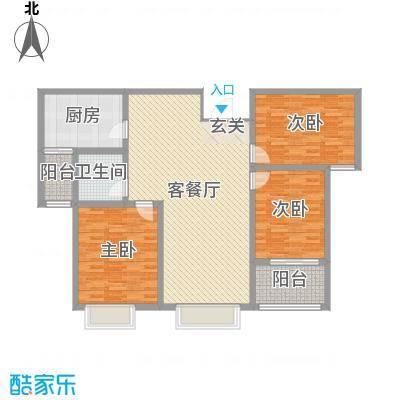 泉府公馆127.83㎡15#楼B户型3室3厅1卫1厨