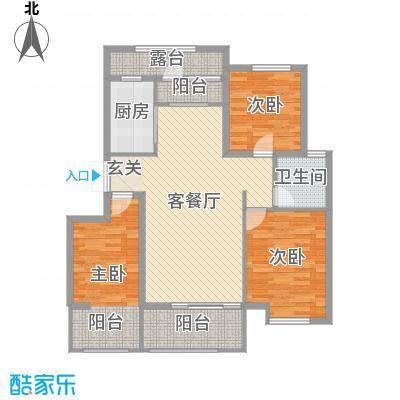 润德天悦城113.65㎡B-1#标准层1D户型3室3厅1卫1厨