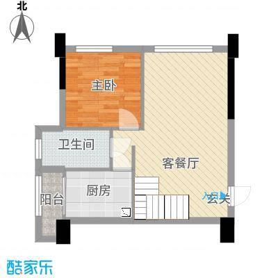 田禾卢浮公馆80.00㎡5栋A1复式下层户型4室4厅1卫1厨