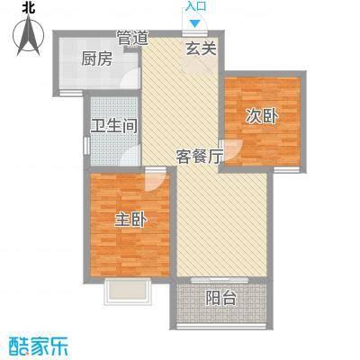 铂宫时代89.73㎡15#B户型2室2厅1卫1厨