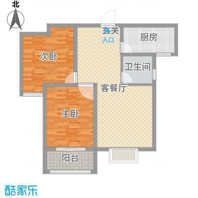铂宫时代93.45㎡9#F户型2室2厅1卫1厨