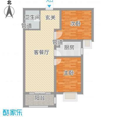 铂宫时代92.75㎡1号楼A-T户型2室2厅1卫1厨