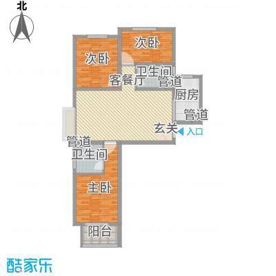 铂宫时代116.80㎡15#A-标准层户型3室3厅2卫1厨