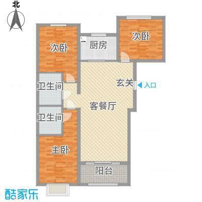 恒基现代城129.00㎡18#楼三居户型3室3厅2卫1厨