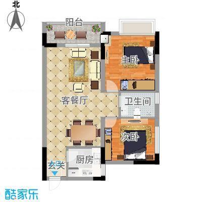 香泉公馆88.00㎡2户型2室2厅1卫-副本