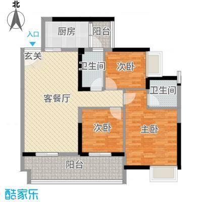 保利林语106.00㎡E-1、2栋D户型3室3厅2卫1厨