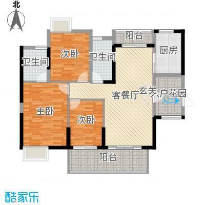 保利林语120.00㎡E-1、2栋A户型3室3厅2卫1厨