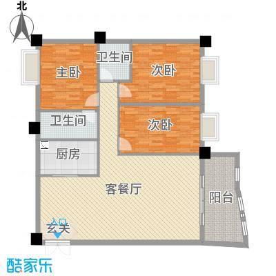 名苑华庭170.00㎡15幢标准层03户型3室3厅1卫1厨
