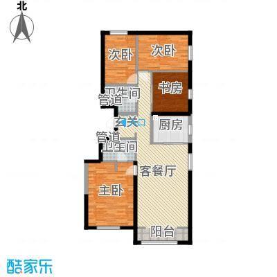 万科新里程137.00㎡9#、12#、13#楼标准层1T2M反户型4室4厅2卫1厨