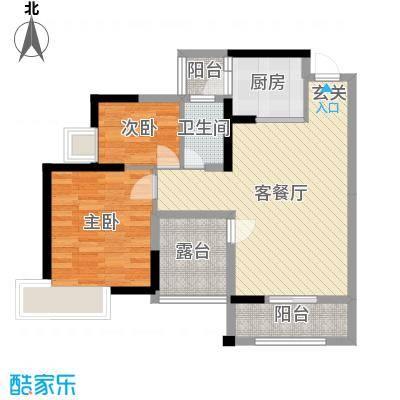 田禾卢浮公馆80.00㎡D户型3室3厅1卫1厨
