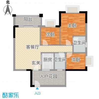汇侨新城99.63㎡三期21座标准层05户型3室3厅2卫1厨