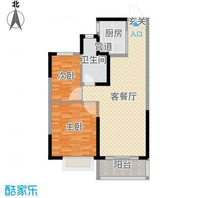恒大绿洲89.38㎡12#B_R户型2室2厅1卫1厨