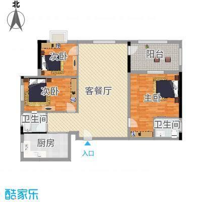 大地・潜龙山居137.00㎡K3户型3室2厅2卫-副本