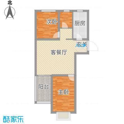 玫瑰园77.59㎡3、4、7、8、10#A户型3室3厅1卫1厨