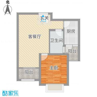 玫瑰园60.80㎡3、4、7、8、10#B户型2室2厅1卫1厨