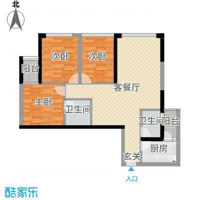 福星时代天骄88.88㎡J2户型3室3厅2卫1厨