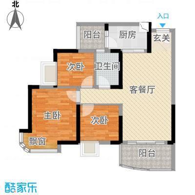 碧桂园十里银滩90.00㎡迎海J367-A户型3室3厅1卫1厨
