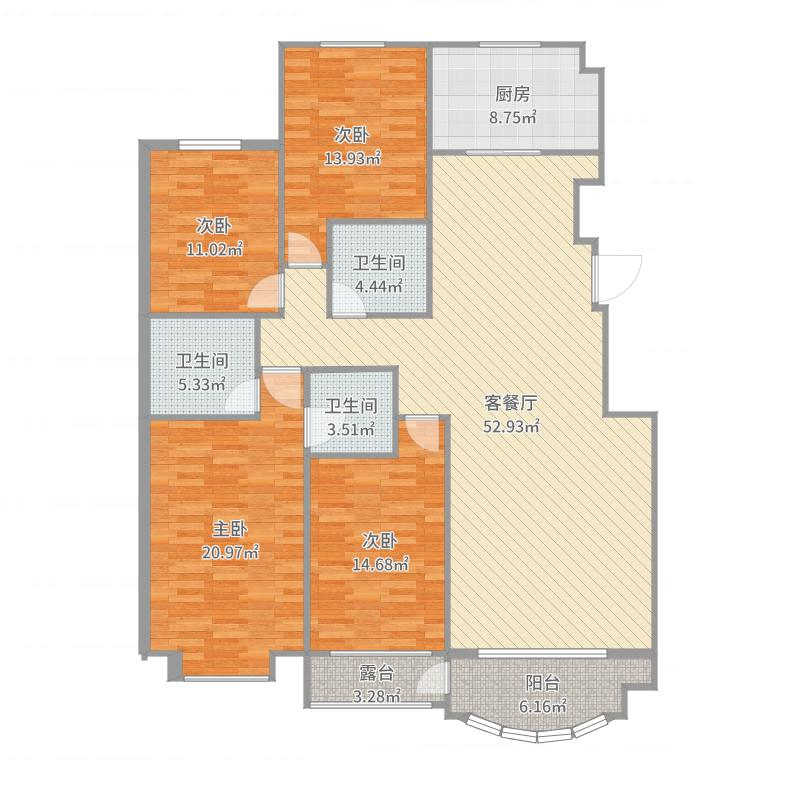 户型设计 未命名户型图  河北 秦皇岛 碧景华庭 套内面积:145.