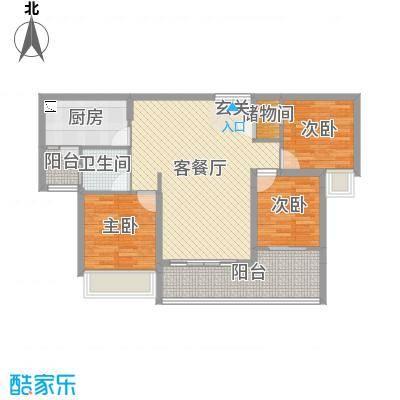 海雅君悦花园104.00㎡2栋02、05户型3室3厅1卫1厨