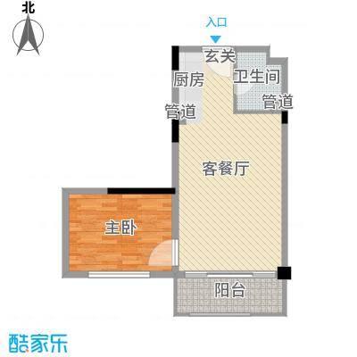 广弘城国际社区73.00㎡广弘城·小时代B3a户型1室1厅1卫1厨