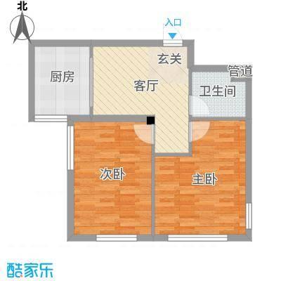 理工帝湖湾62.62㎡户型2室2厅1卫1厨