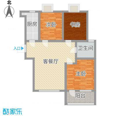 荣盛锦绣天地98.00㎡19、20#楼标准层I户型3室3厅1卫1厨