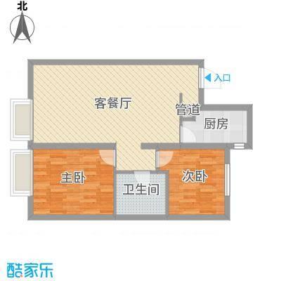 万科城・明户型图2室2厅户型图  2室2厅1卫1厨-副本