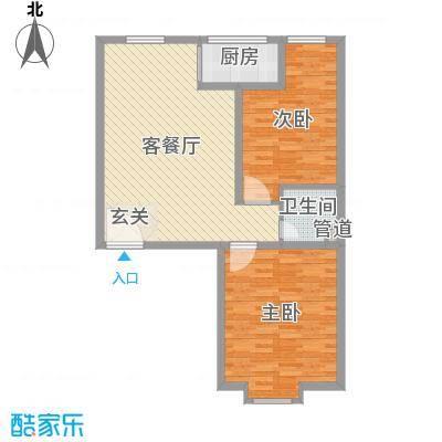滨河城・左岸89.71㎡3户型2室2厅1卫