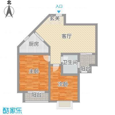 水木清华92.00㎡C3清华格调户型2室2厅1卫1厨
