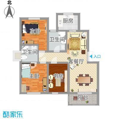 盘蠡花园112.65㎡E户型3室2厅2卫1厨-副本
