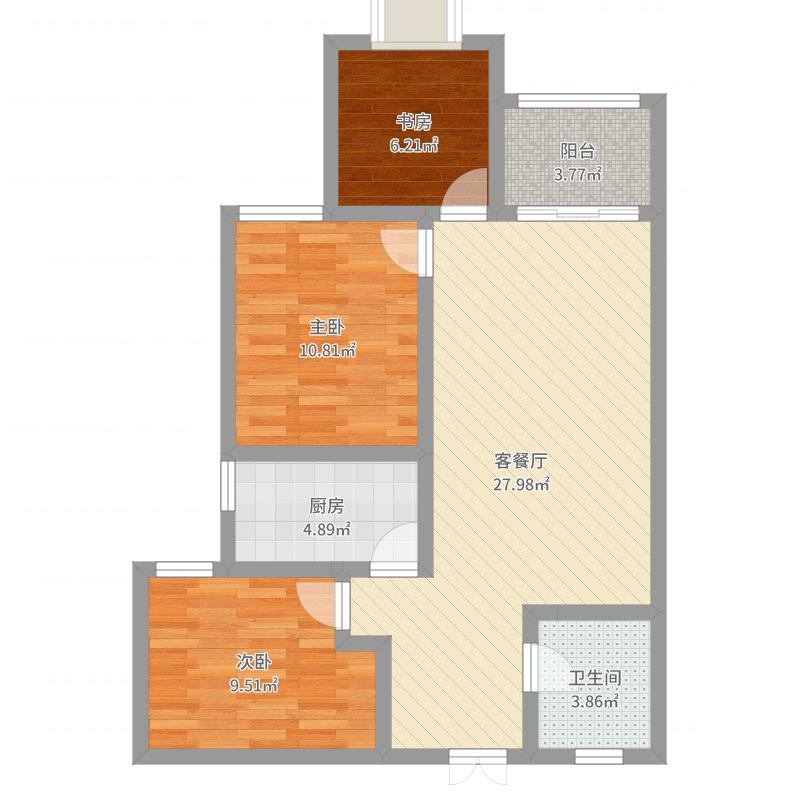 户型设计 融广春天-现代简约-84平方-三居室  河南 鹤壁 融广春天
