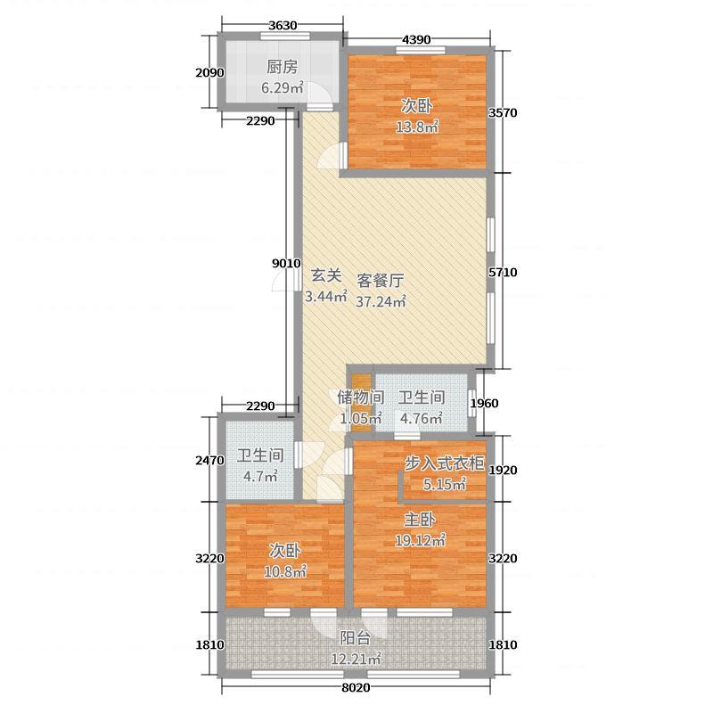 00㎡户型3室3厅2卫1厨  山东 青岛 金隅和府 套内面积:109.
