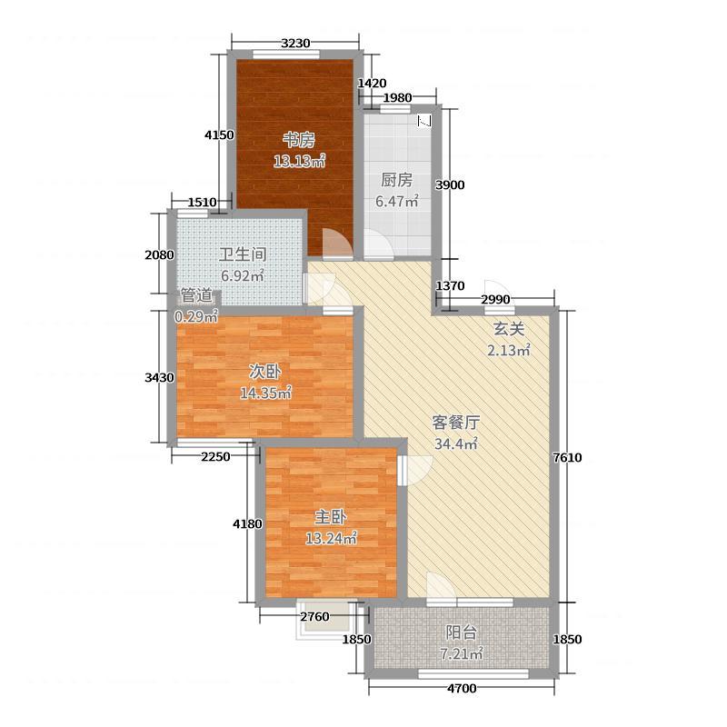 00㎡户型3室3厅1卫1厨  山东 青岛 金隅和府 套内面积:96平方米