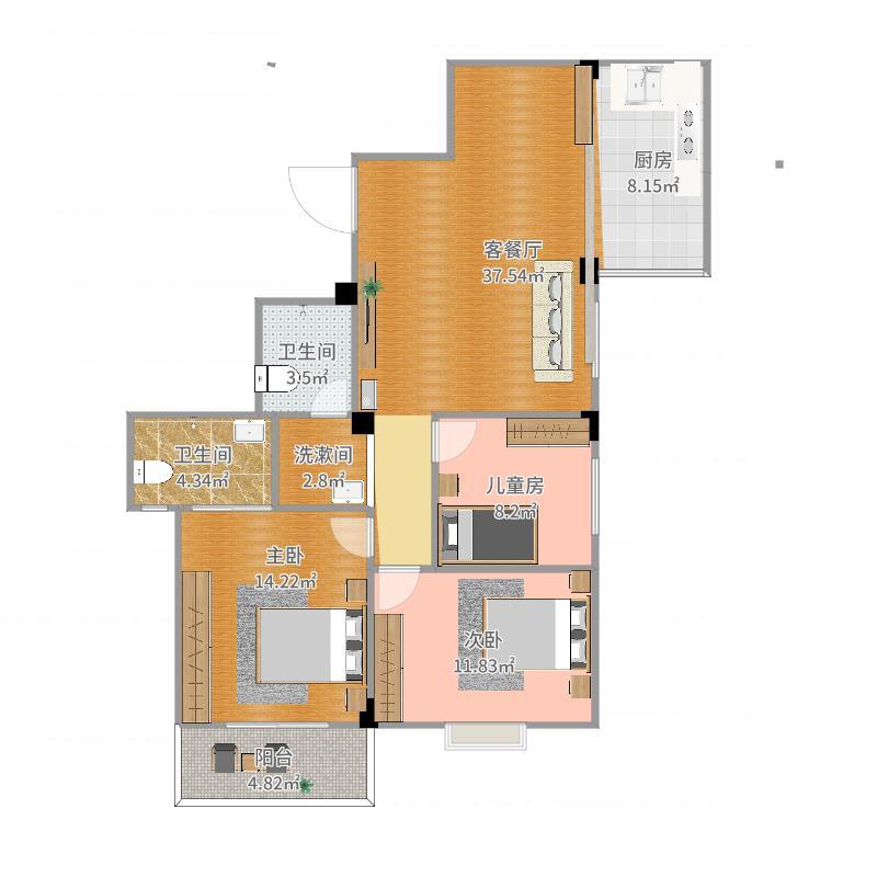 龙岩棕榈郡2号楼整体结构图