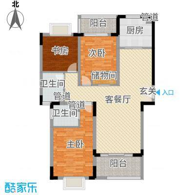 蓝岳首府122.40㎡E12240户型3室3厅2卫