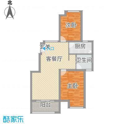 保利西塘越92.21㎡二期公寓非标准层2-7F-B21户型2室2厅1卫1厨