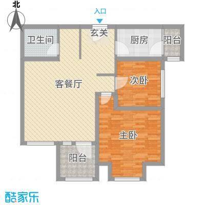 华鼎泰富公馆95.40㎡一期B座-B户型2室2厅1卫1厨