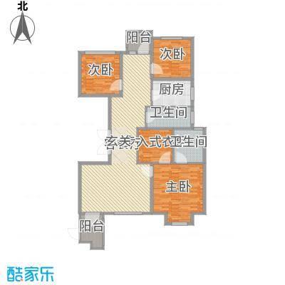 华鼎泰富公馆159.53㎡一期B座-G户型3室3厅2卫1厨