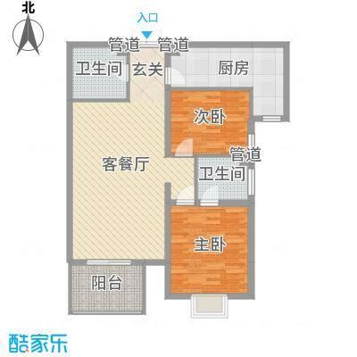 观筑庭园公寓户型2室1厅2卫1厨-副本