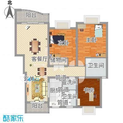 何山花园157.00㎡何山花园户型图户型图3室2厅2卫户型3室2厅2卫-副本