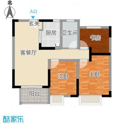 世茂东都・天城89.00㎡高层中户B2户型3室3厅1卫1厨