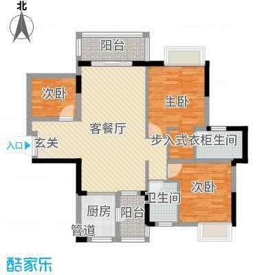 富盈公馆100.00㎡一期1-4栋标准层B户型3室3厅2卫1厨