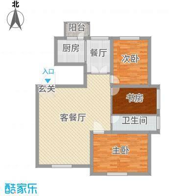 香墅湾庄园106.35㎡小高层户型3室3厅1卫1厨