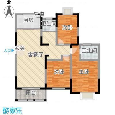 8090青年公寓125.00㎡一期7#楼标准层E户型3室3厅1卫