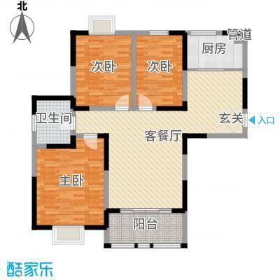 8090青年公寓121.00㎡一期7#楼标准层C户型3室3厅1卫