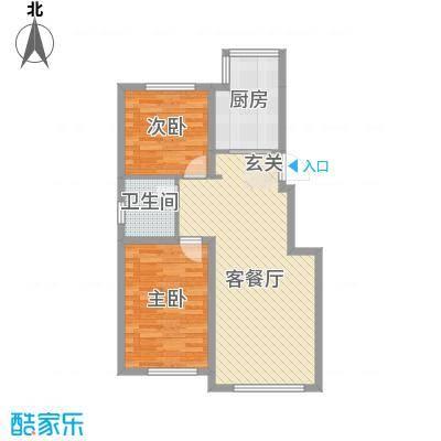 荟萃园84.00㎡户型2室2厅1卫